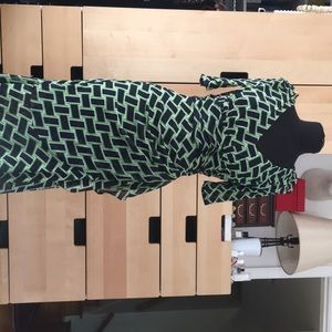 DVF MESH BLUE AND GREEN DRESS